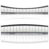 35mm film strip. Twisted film strip decoration over white background Stock Images
