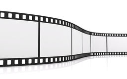 35mm film strip. 3D rendering of a 35mm film strip isolated on white Stock Image