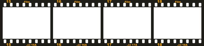 35mm film strip. Four frames from a 35mm film strip