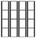 35mm film strip frames frame. 35mm film strip showing 16 black frames which could be used as a story board on a grey graduated background Royalty Free Stock Photo