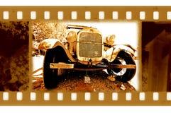 35mm frame foto met doorwaadbare plaats retro auto Royalty-vrije Stock Foto's