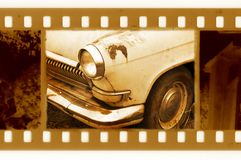 35mm frame photo with old car. Old 35mm frame photo with old car Royalty Free Stock Image