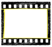 35mm frame sketch  selection markup. Sketch artwork of 35mm film frame with sprocket holes and selection marked in yellow, originally drawn in Illustrator so the Royalty Free Stock Photos