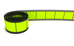 35mm green film strip. 3D rendering of a 35mm green film strip isolated on white Stock Photos