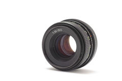 35mm lens. Old lens on white background stock image