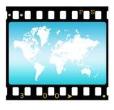 35mm slide frame with map. 2D art royalty free illustration