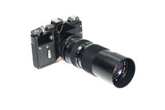 35mm SLR filmcamera die op witte achtergrond wordt geïsoleerdr Royalty-vrije Stock Afbeeldingen