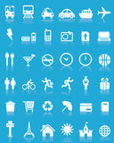 36个图标设置了旅行向量 免版税库存照片