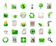 36 geplaatste ecologiepictogrammen Stock Fotografie