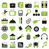 36 icon. 36 black green web icons Royalty Free Stock Photos