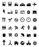 36 icons black- transportation, travel Royalty Free Stock Photos
