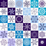 36  isolated snowflakes. On white and blue backgrounds Stock Image