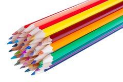 36 kleurrijke potloden die op wit worden geïsoleerda Royalty-vrije Stock Foto's