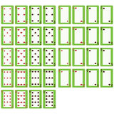 36 playing cards. Thirty-six playing cards, with a clear space in the middle Stock Photo