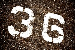 36 Thirty Six Painted. 36 Thirty Six Number Painted on the Pavement. Grungy Urban Background stock photo