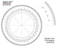 360度分度器1/10精确度 向量例证