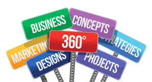 360 business concepts. color signs. Illustration design over white Stock Photos