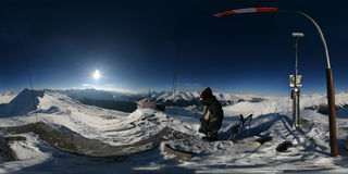 360 degree alpine spherical panorama Royalty Free Stock Photo