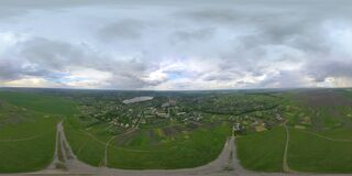 Free 360-degree Panorama From Drone. View Of The City. Landscape Of A Cloudy Day Stock Photos - 176525323