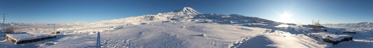 360-degree panorama of Mount Ararat in winter. Mount Ararat (Agri Dagi) in winter. Panoramic image was shot from abandoned Elikoy village, altitude 2250m. Mount Stock Image