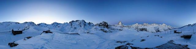 360 degree panorama from Riffelberg at dawn. Gornergrat, Zermatt, Switzerland Royalty Free Stock Photography
