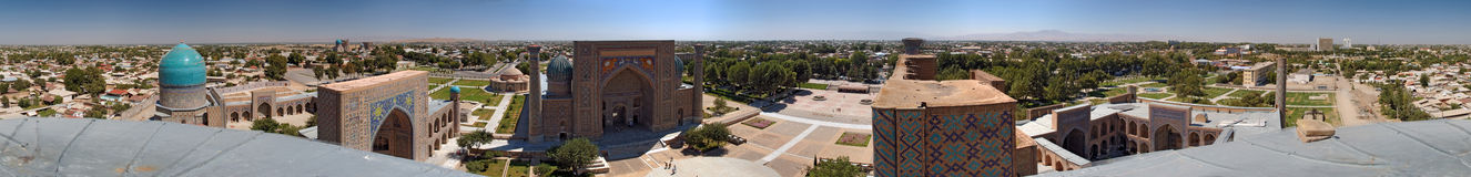 360-degree panorama of Samarqand. 360-degree panorama of ancient El-Registan Square, central square of city Samarqand, Uzbekistan Royalty Free Stock Photos