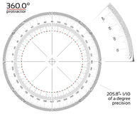 360 degree protractor 1/10 precision. 360 degree protractor with 1/10 of a degree precision Royalty Free Stock Images