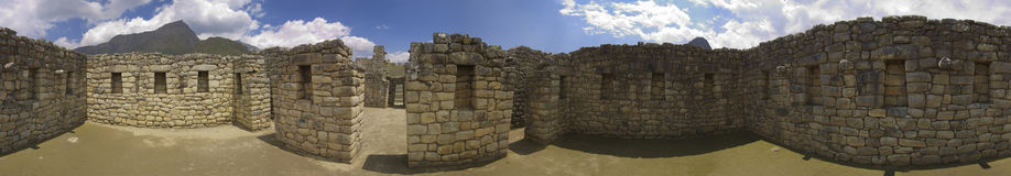 360 degree view of Inca House, Machu Picchu. 360 degrees seamless view of the interior of a Inca house at Machu Picchu. Spherical projection Royalty Free Stock Photography