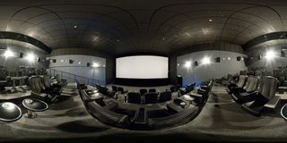 360 Degrees Full Panorama Of A Modern Cinema Hall Royalty Free Stock Photo