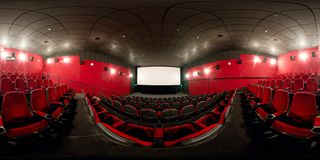 360 Degrees Full Panorama Of A Modern Cinema Hall Stock Photography