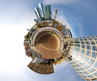 360 degrees panorama of Moscow-city. Moscow-city business center spherical panorama, mini planet style, Russia Royalty Free Stock Image