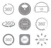 360 Degrees View Sign Icon Stock Photography