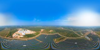 Free 360 Panorama By 180 Degrees Angle Seamless Panorama Of Aerial View Of Solar Panels Or Solar Cells On The Roof In Farm. Power Plant Stock Images - 166974434