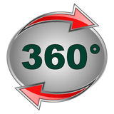 360 sign. Illustration of 360 icon with red arrows Royalty Free Stock Photography