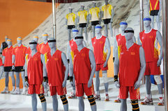 361 stand,Official uniform of the Universiade 2011. The 28th China International Sporting Goods Show 2011,Chengdu Stock Photo
