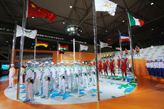 361 stand,Official uniform of the Universiade 2011. The 28th China International Sporting Goods Show 2011,Chengdu. 361 the outfit partner for the volunteers of royalty free illustration