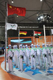 361 stand,Official uniform of the Universiade 2011. The 28th China International Sporting Goods Show 2011,Chengdu. 361 the outfit partner for the volunteers of vector illustration
