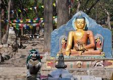365 stappen aan Swayambhunath in Katmandu, Nepal Royalty-vrije Stock Foto's