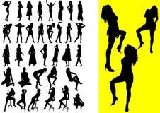 37 silhouetes de muchachas atractivas Imagen de archivo