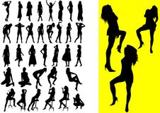 37 silhouetes of girls. 37 silhouettes of girls illustration vector illustration