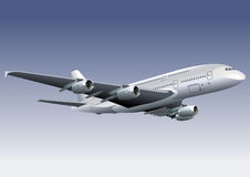 A 380 Lagest Jetliner. Detailed vector illustration A380 passenger jetliner. Isolated on sky with clipping path. Available EPS-8 Royalty Free Stock Image