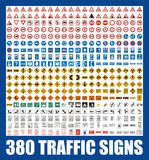 380 traffic signs + vector file Royalty Free Stock Image
