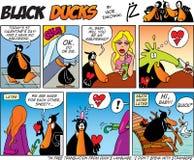 39只黑色可笑的鸭子情节主街上 库存图片