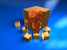 3b cube. 3d golden cube with six blocks Royalty Free Stock Photos