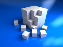 3b glossy cube. 3d white cube with six blocks Stock Images