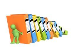 3d下跌的文件夹木偶支持 免版税库存照片