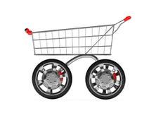 3d与查出的车轮的购物车 免版税库存图片