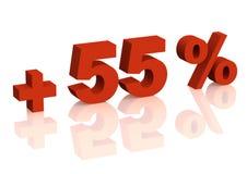 3d五十五登记百分比加上红色 免版税库存照片