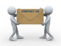 3d人们与我们联系信包 免版税库存照片