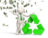 3d人回收与货币雨的符号 免版税图库摄影